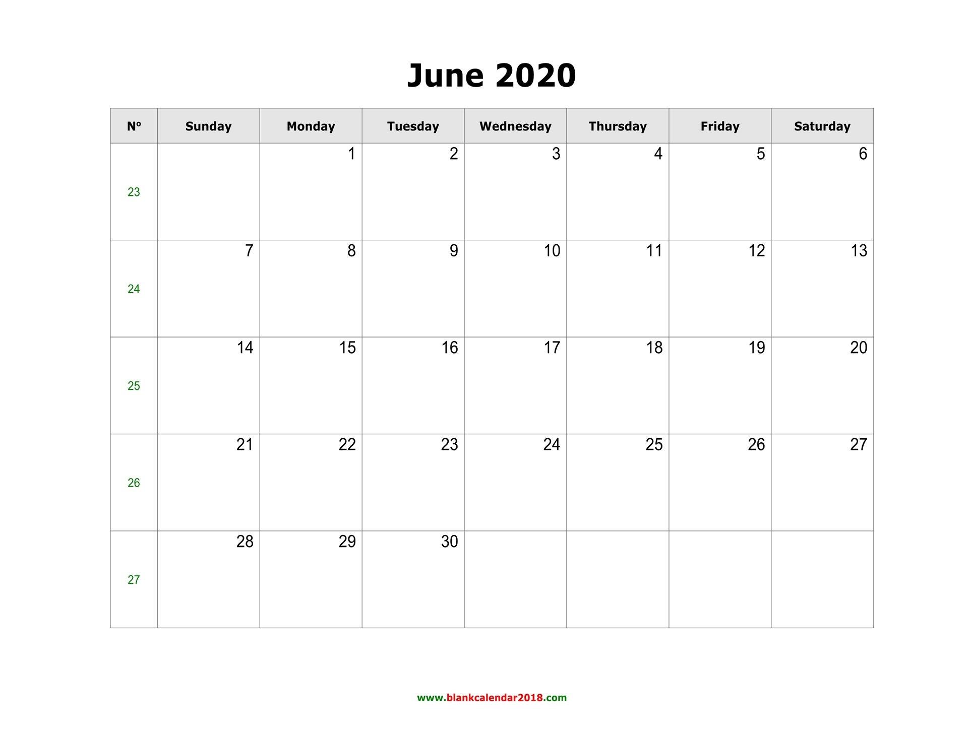 Blank Calendar For June 2020 June Monday To Friday Downloadable Calendar