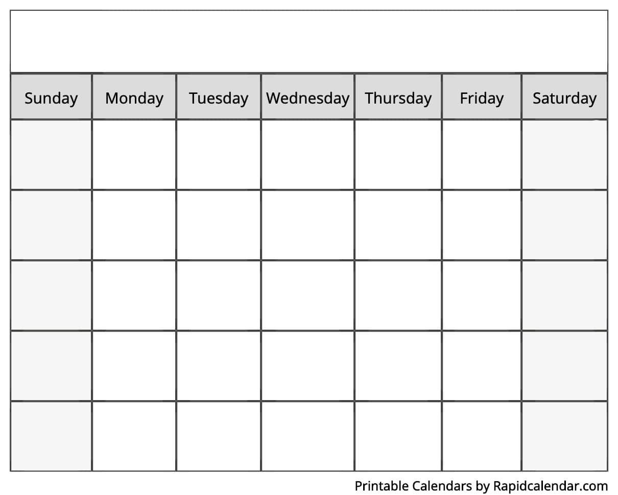 Blank Calendar - Rapid Calendar Sunday Through Saturday Blanl Calendar