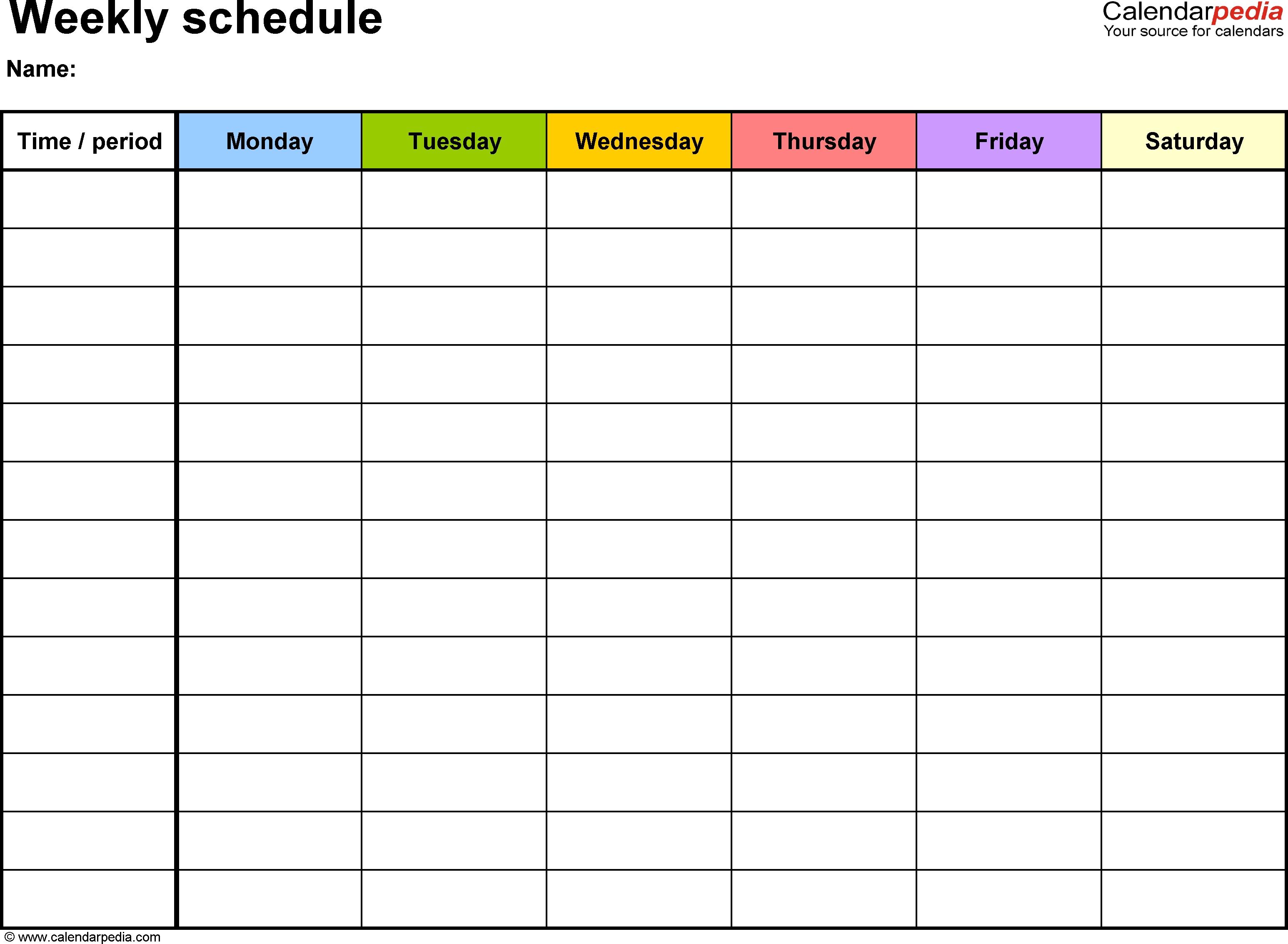 Blank Days Of The Week Calendar | Free Calendar Template Example Blank 8 Week Calendar Printable