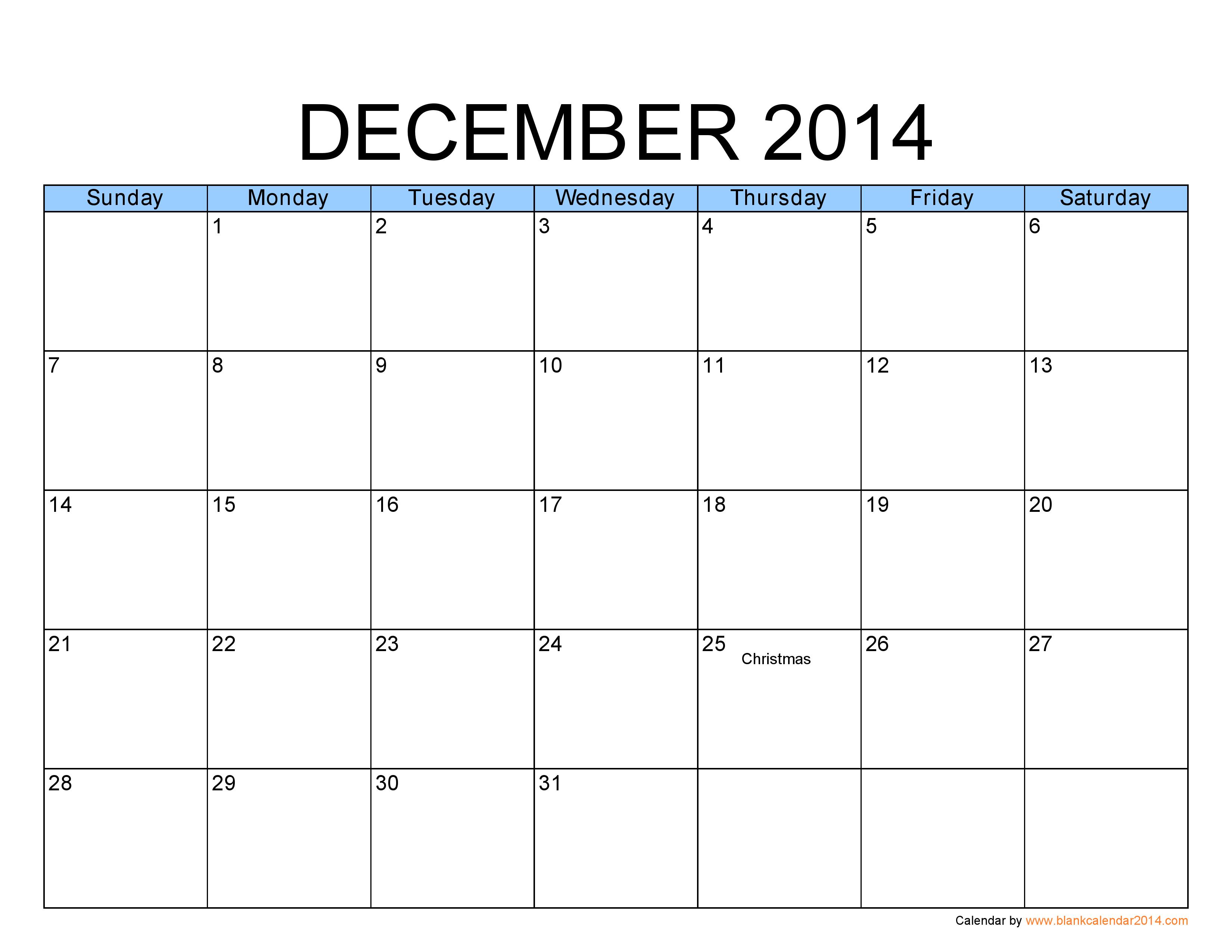 Blank December Calendar | December 2014 Calendar Template Free Printable Calendar Large Blocks