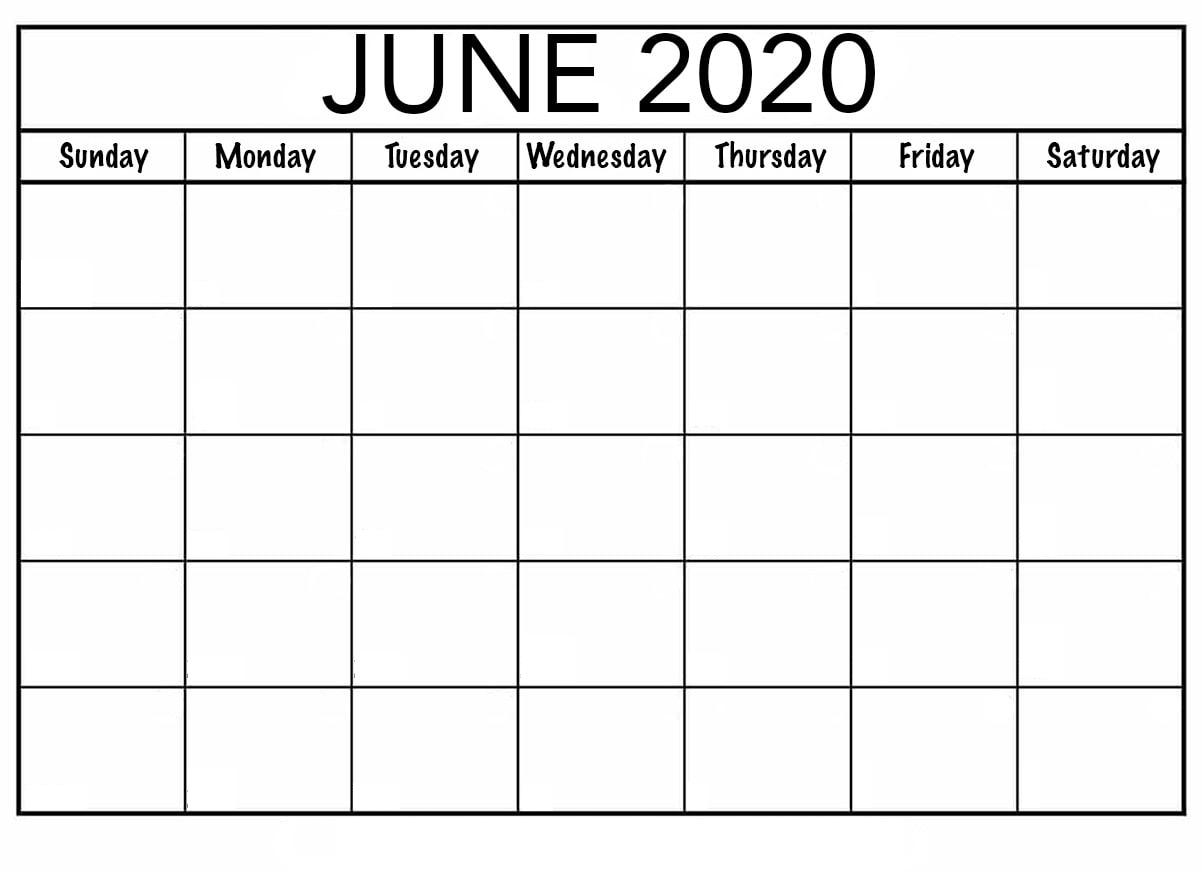 Blank June 2020 Calendar — Printable Monthly - Calendarsites June Monday To Friday Downloadable Calendar