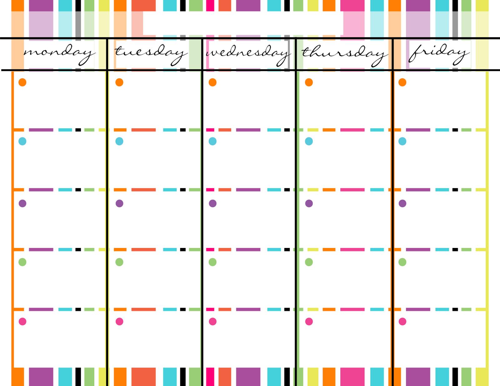Blank Monday Through Friday Printable Calendar | Calendar Mon – Friday Weekly Celendar