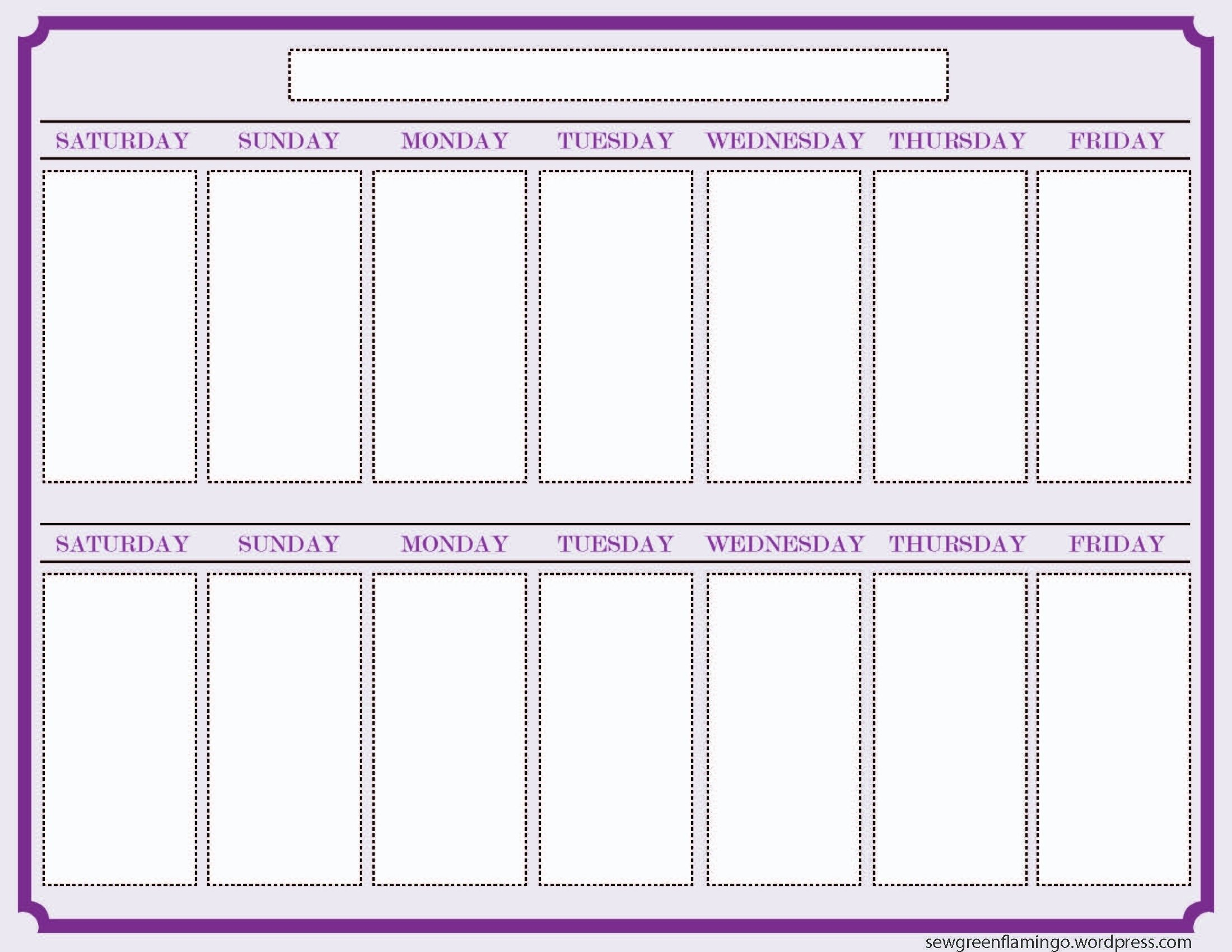 Blank Two Week Schedule Template | Free Calendar Template 1 Week Printable Calendar