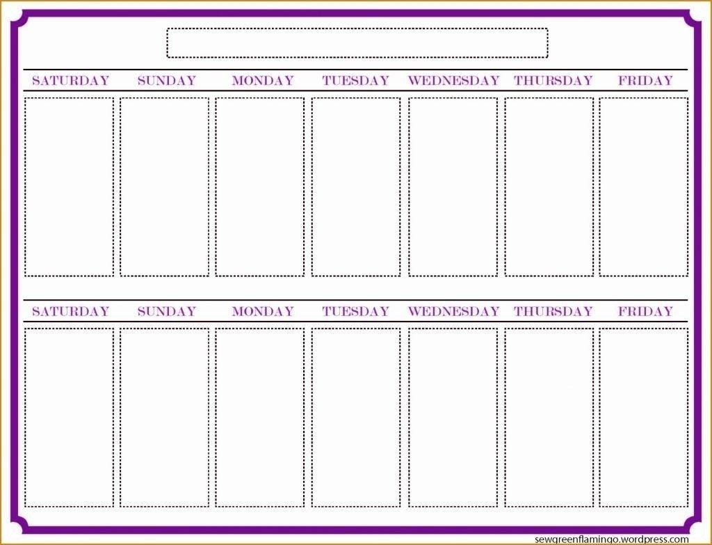Blank Two Week Schedule Template | Free Calendar Template Two Weeks Calendar Template