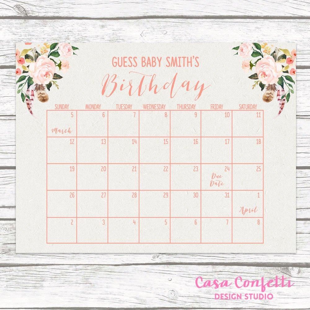 Boho Due Date Calendar, Guess Baby's Due Date, Baby Calendar For Guessing Baby Due Date