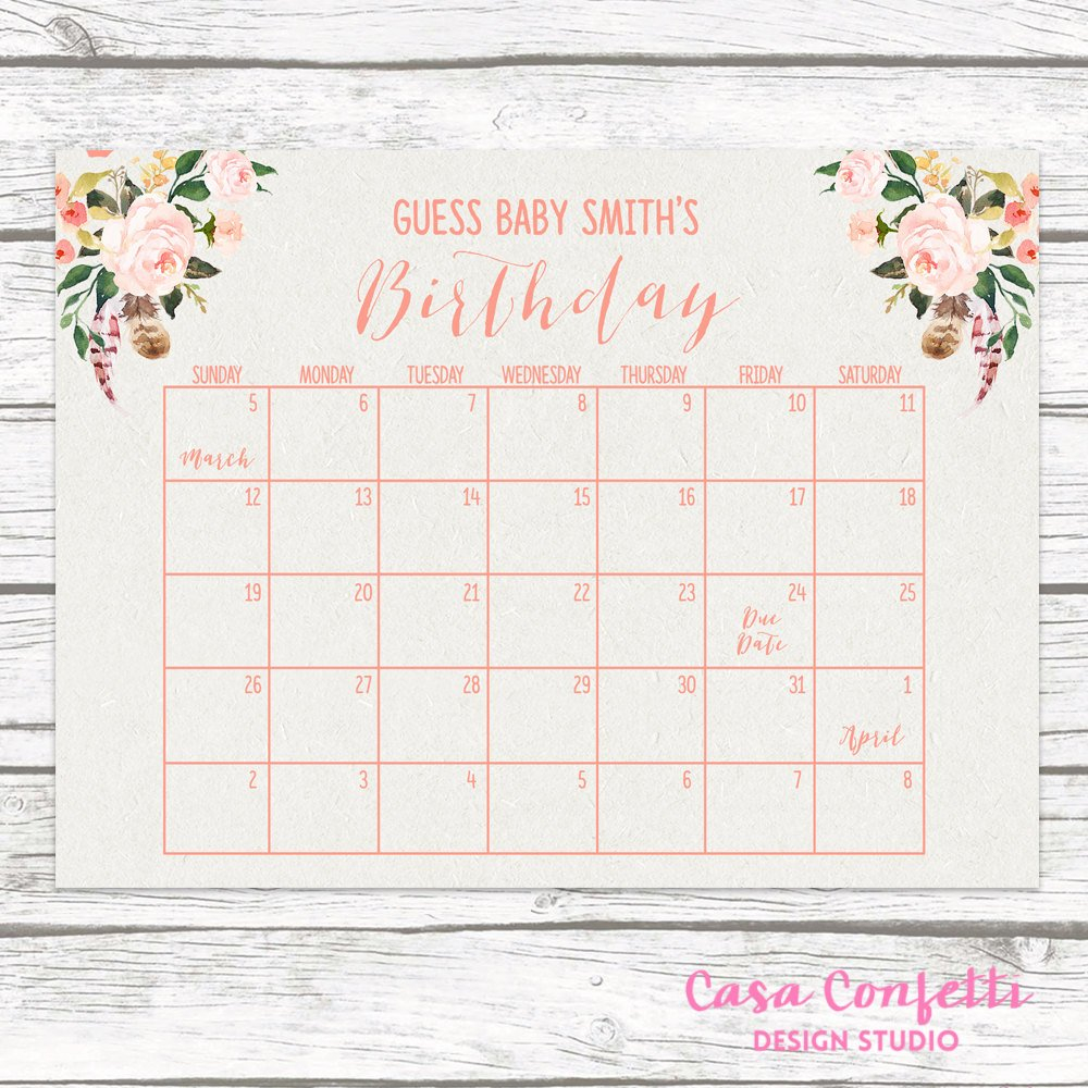 Boho Due Date Calendar, Guess Baby's Due Date, Baby Guess The Due Date Calendar