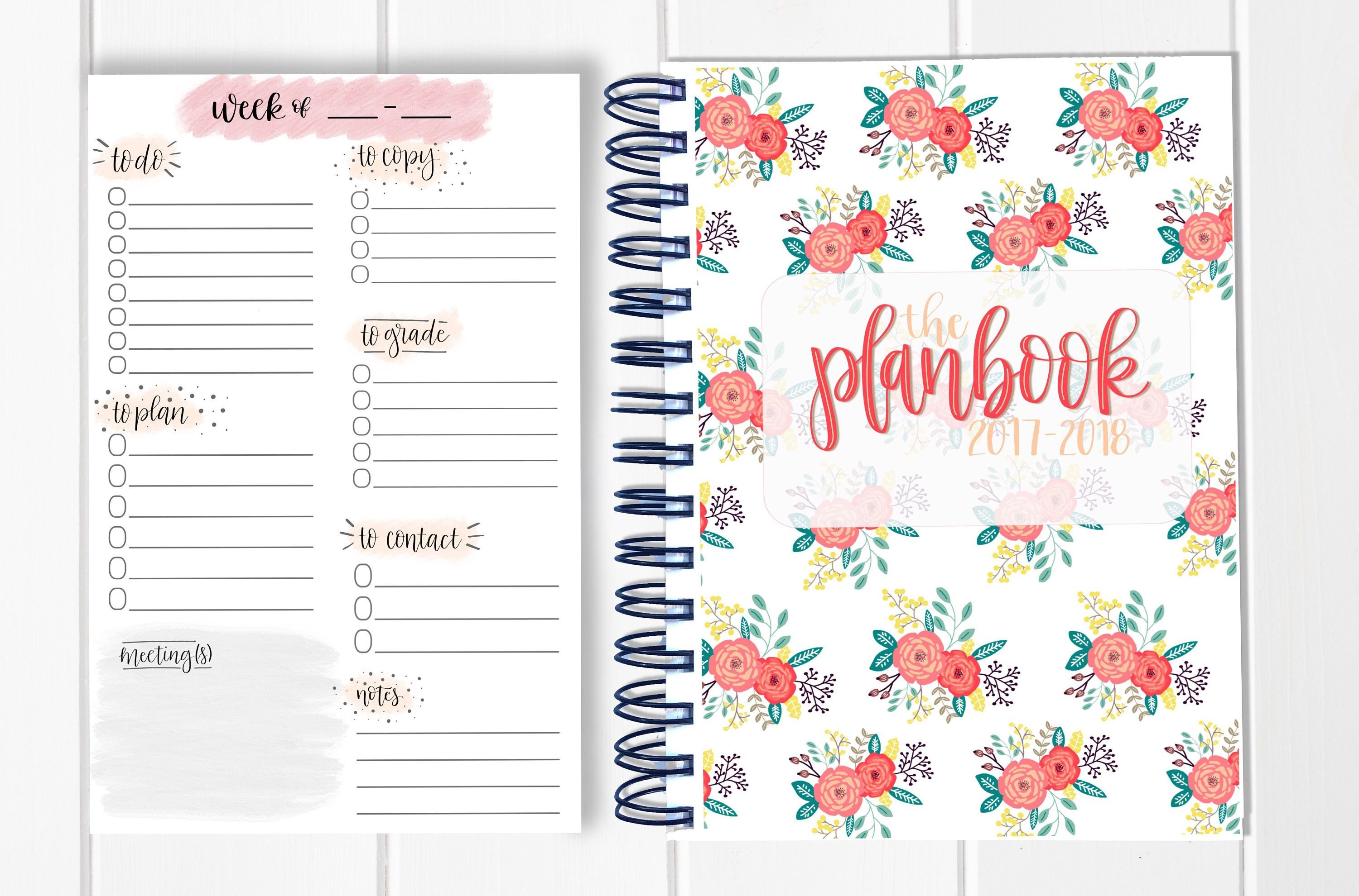 Bundle! Lesson Plan Book + Planning Notepad - Calendar Show Me Monthly Calendars With Agenda Pages That Are 5.5X8.5
