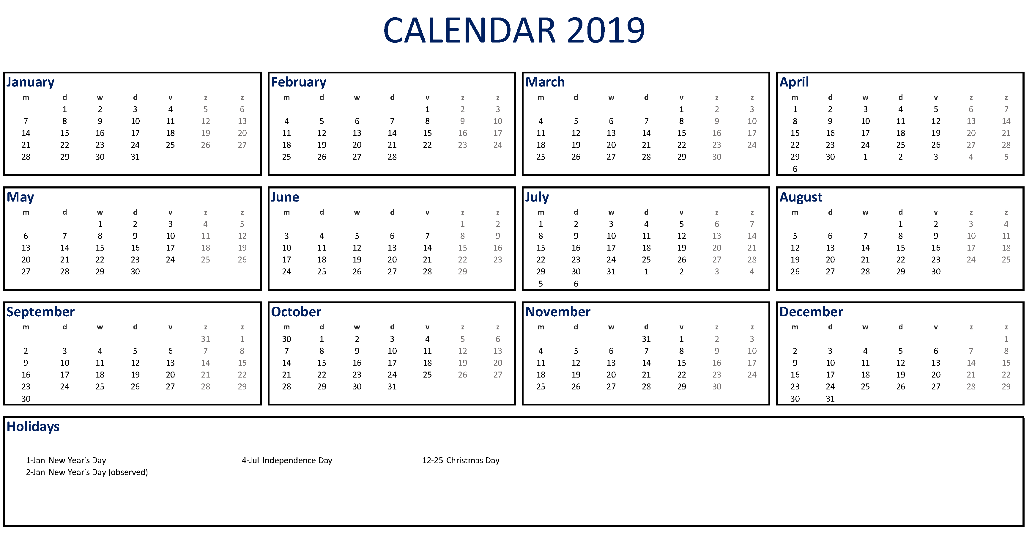 Calendar 2019 Template | Templates At Allbusinesstemplates Printable Hr Annual Calendar For Time Off 2019