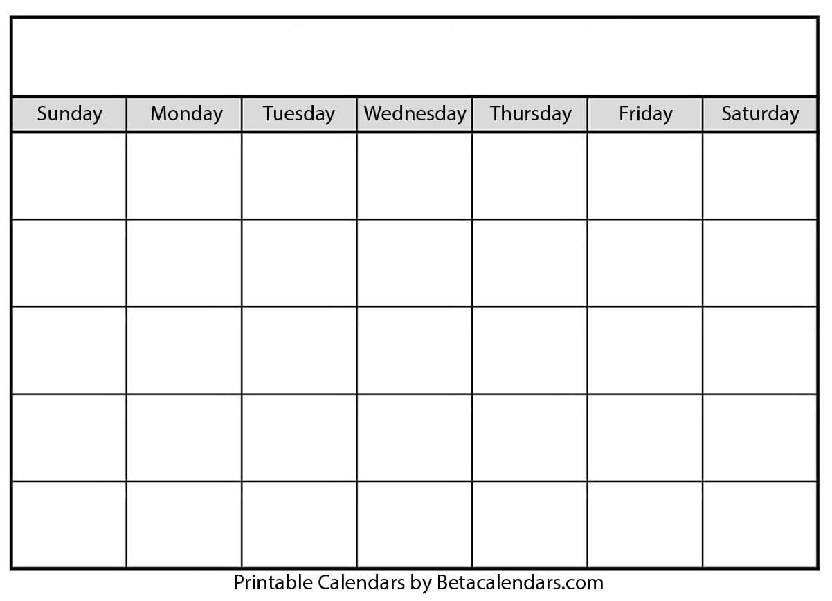Calendar - Blank Sunday Through Saturday Blanl Calendar