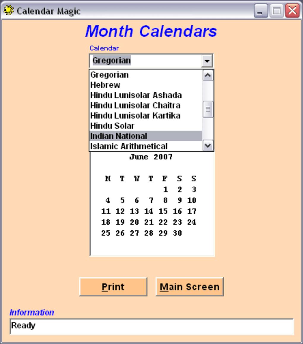 Calendar Magic - Download Software Free Calendario Giuliano