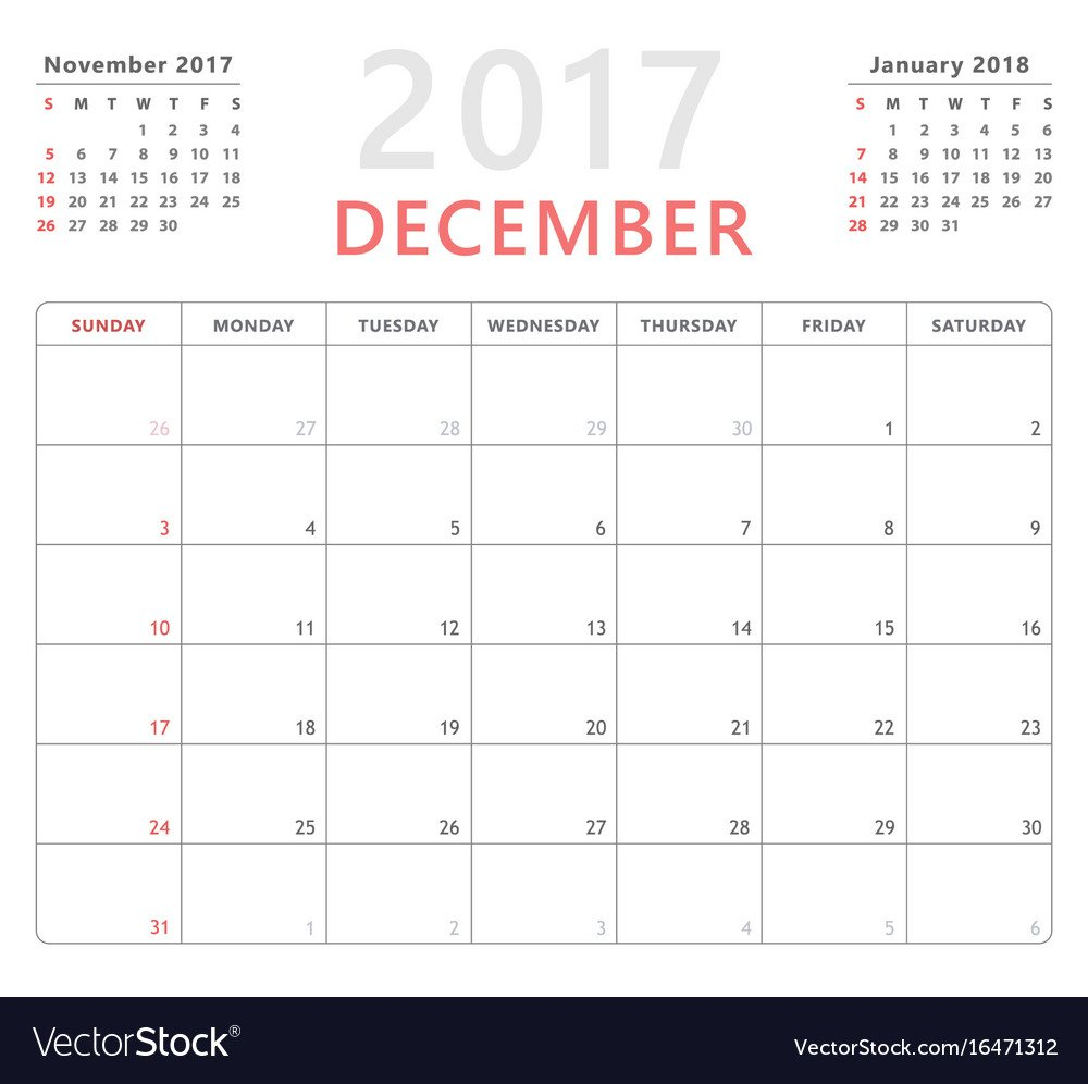 Calendar Planner 2017 December Week Starts Sunday Calendar Saturday To Friday