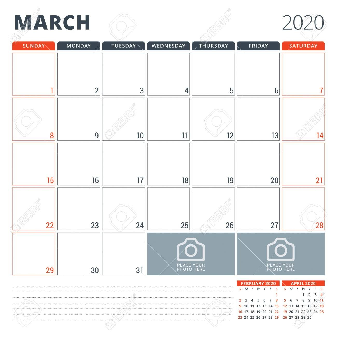Calendar Planner For 2020. Stationery Design Template. Week Starts.. Monday Through Friday 8-5 Calendar