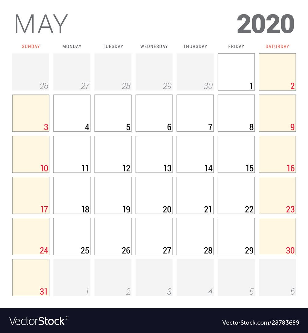 Calendar Planner For May 2020 Week Starts On Two Weeks In May Calendar