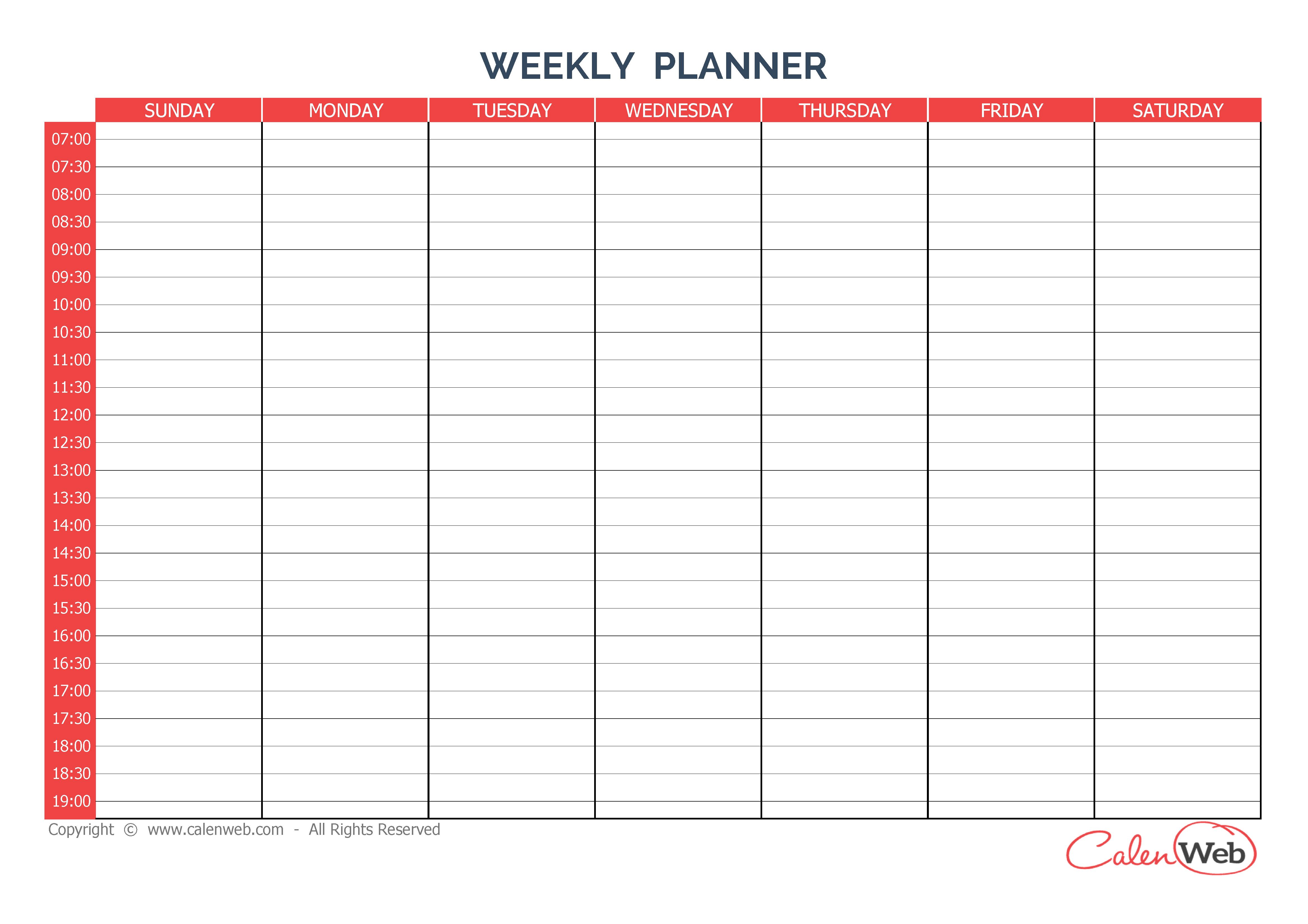 Calendriers Hebdomadaires - Calenweb Sunday Through Saturday Blanl Calendar