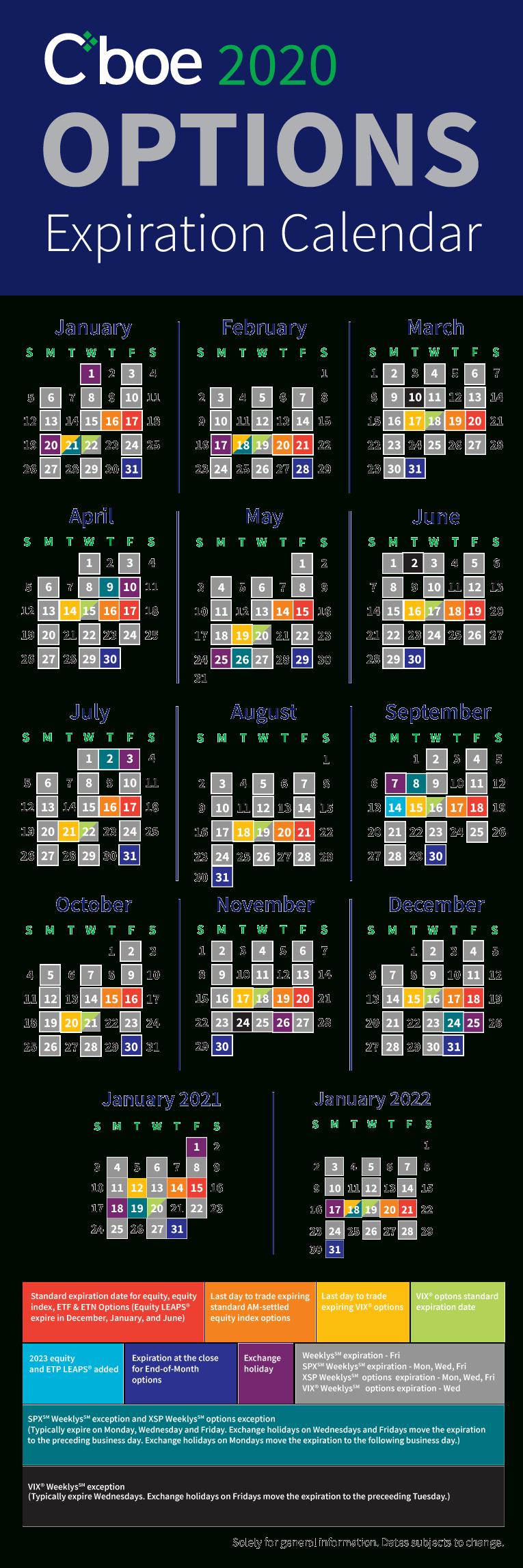 Cboe Expiration & Holiday Calendars 28 Day Calendar Expiration