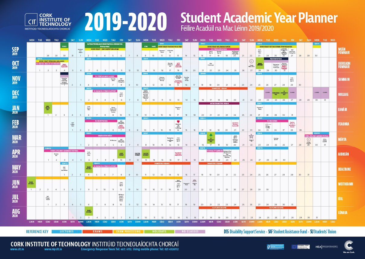 Cit - Cork Institute Of Technology - Semester Dates And Calendar Printable Hr Annual Calendar For Time Off 2019