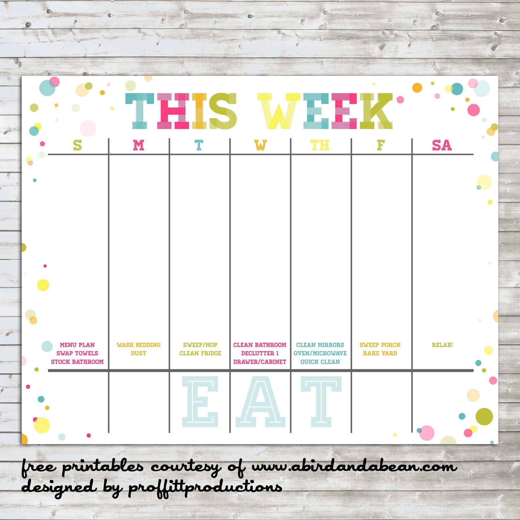 Colorful Weekly Calendar :: Free Printable Printable One Week Calendar Free