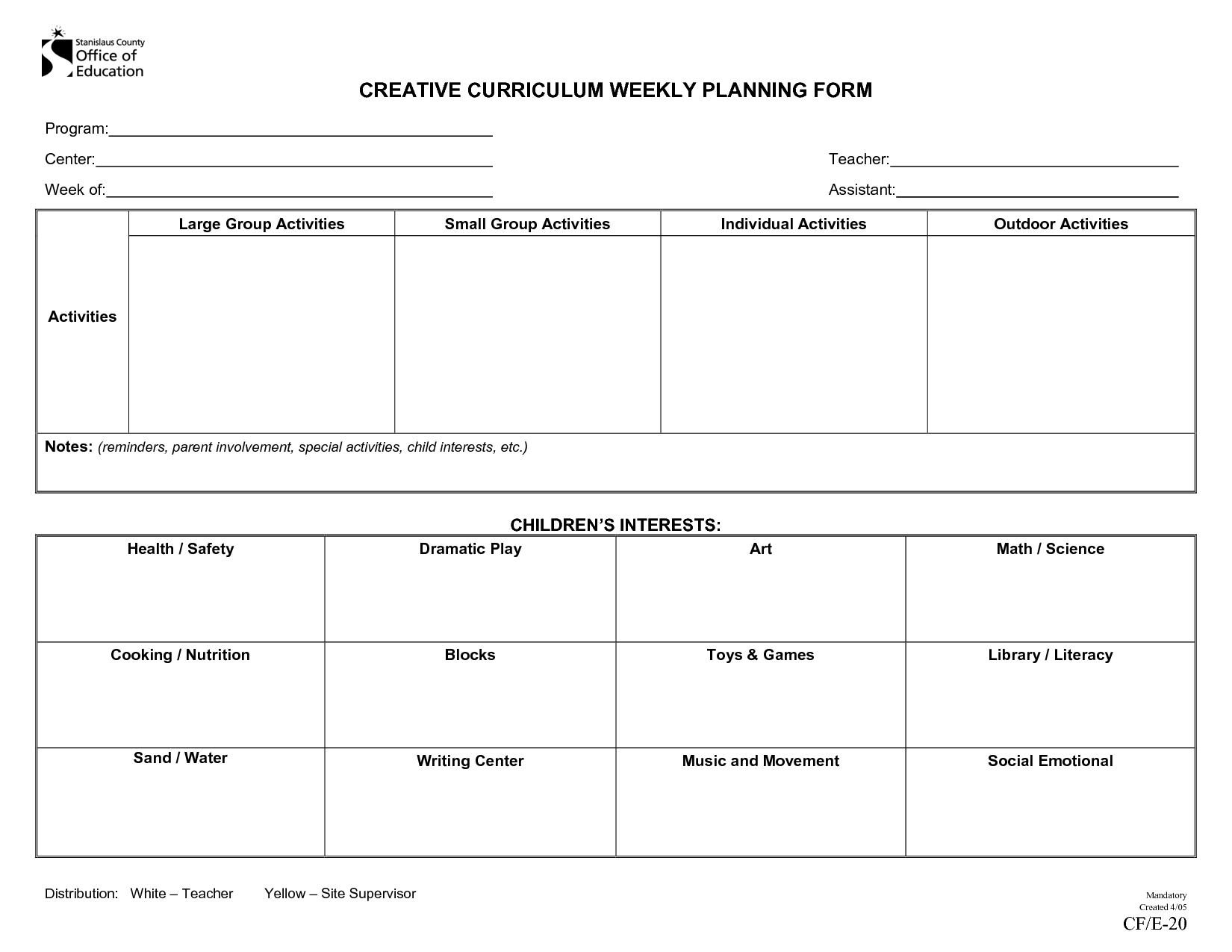 Creative Curriculum | Creative Curriculum Weekly Planning Lesson Plan Template Weekly Prescool Plannar