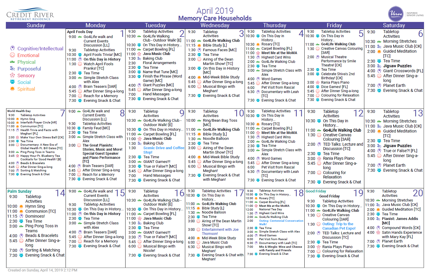 Credit River Retirement Memory Care Residence April 2019 5 Year Retirement Calendar