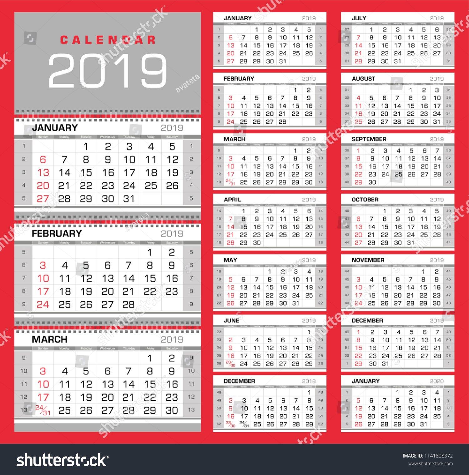 Стоковая Векторная Графика «Wall Quarterly Calendar 2019 Numbers 1 31 To Print
