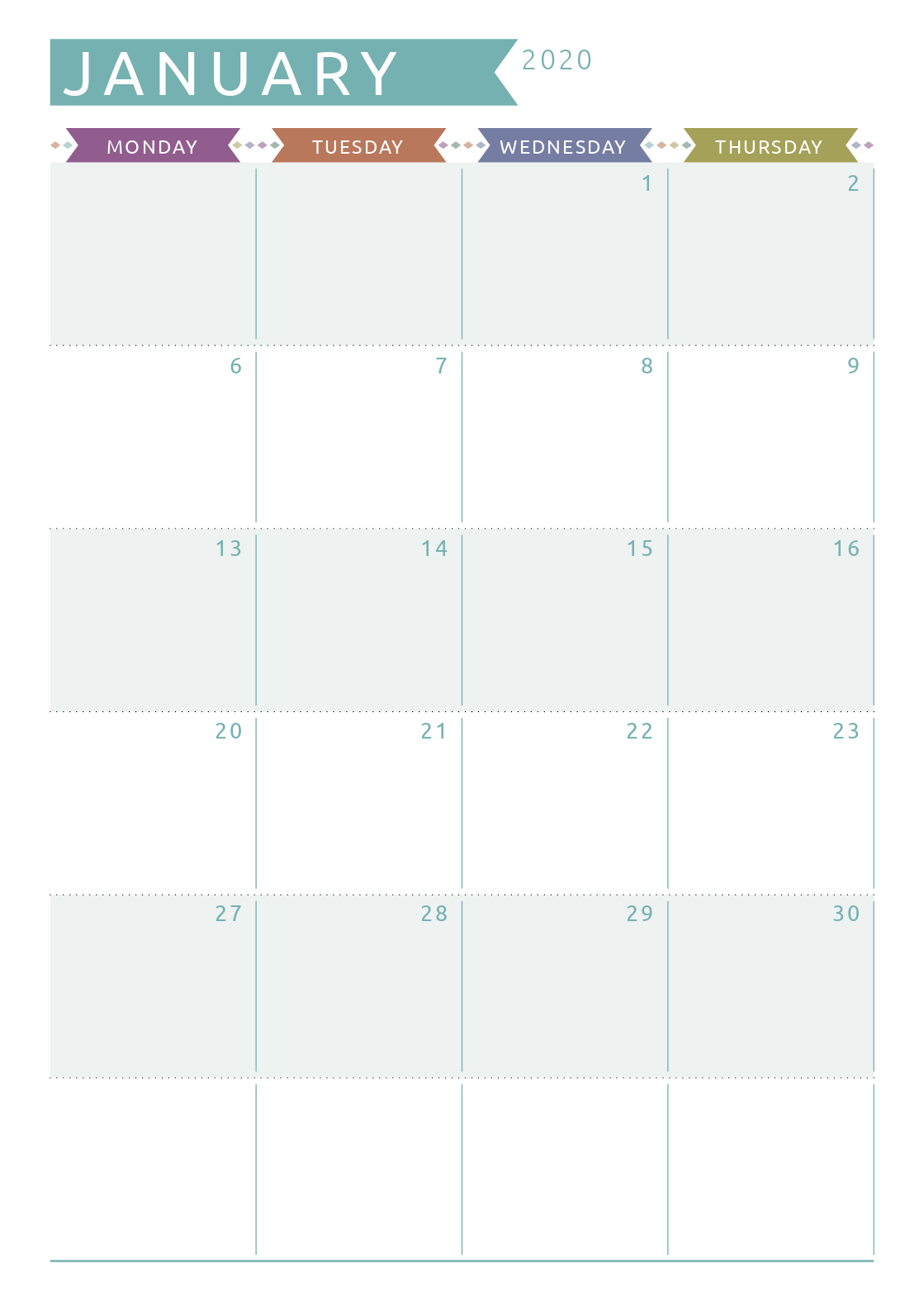 Dated Monthly Calendar - Casual Style (Com Imagens) | Coisas Layout For Two Week Calendar