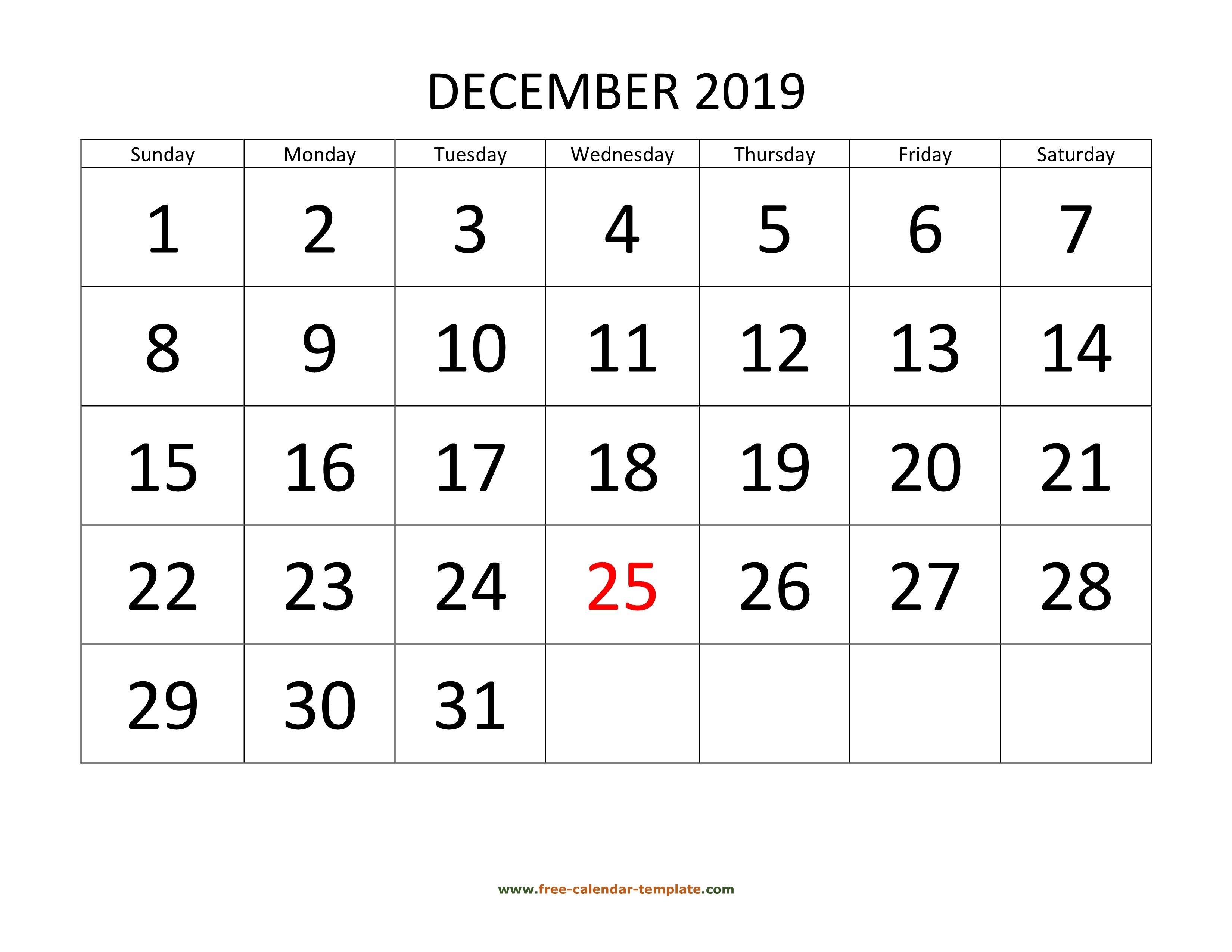December 2019 Free Calendar Tempplate | Free-Calendar Free Calendars You Can Edit