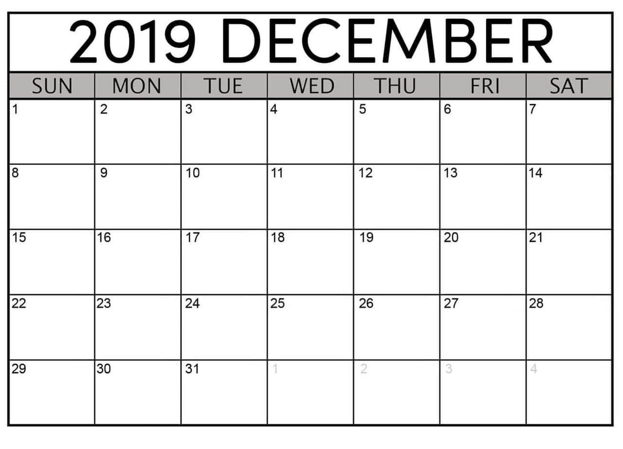 December 2019 Printable Calendar Free Download - Latest Aol Free Printable Calendar