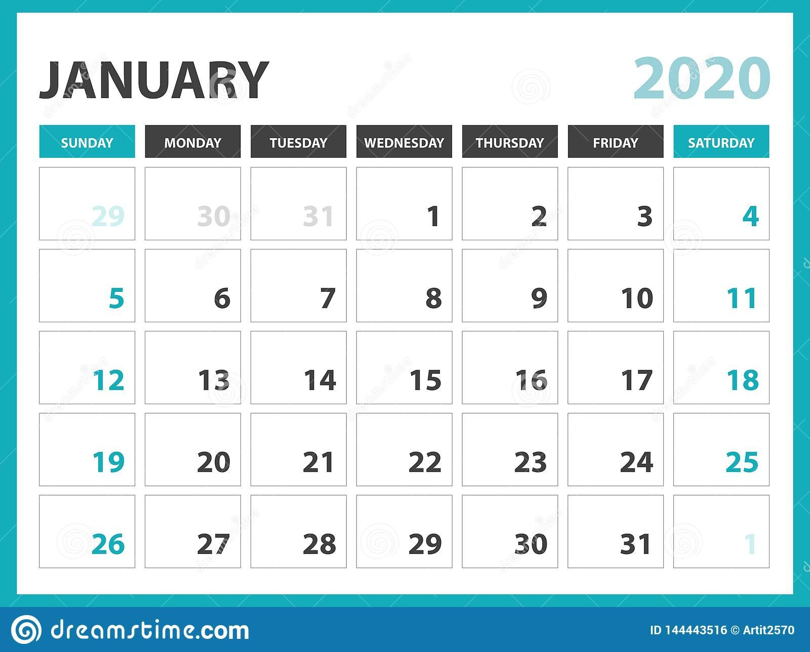 Desk Calendar Layout Size 8 X 6 Inch, January 2020 Calendar Free Printable Calendars 8 Week