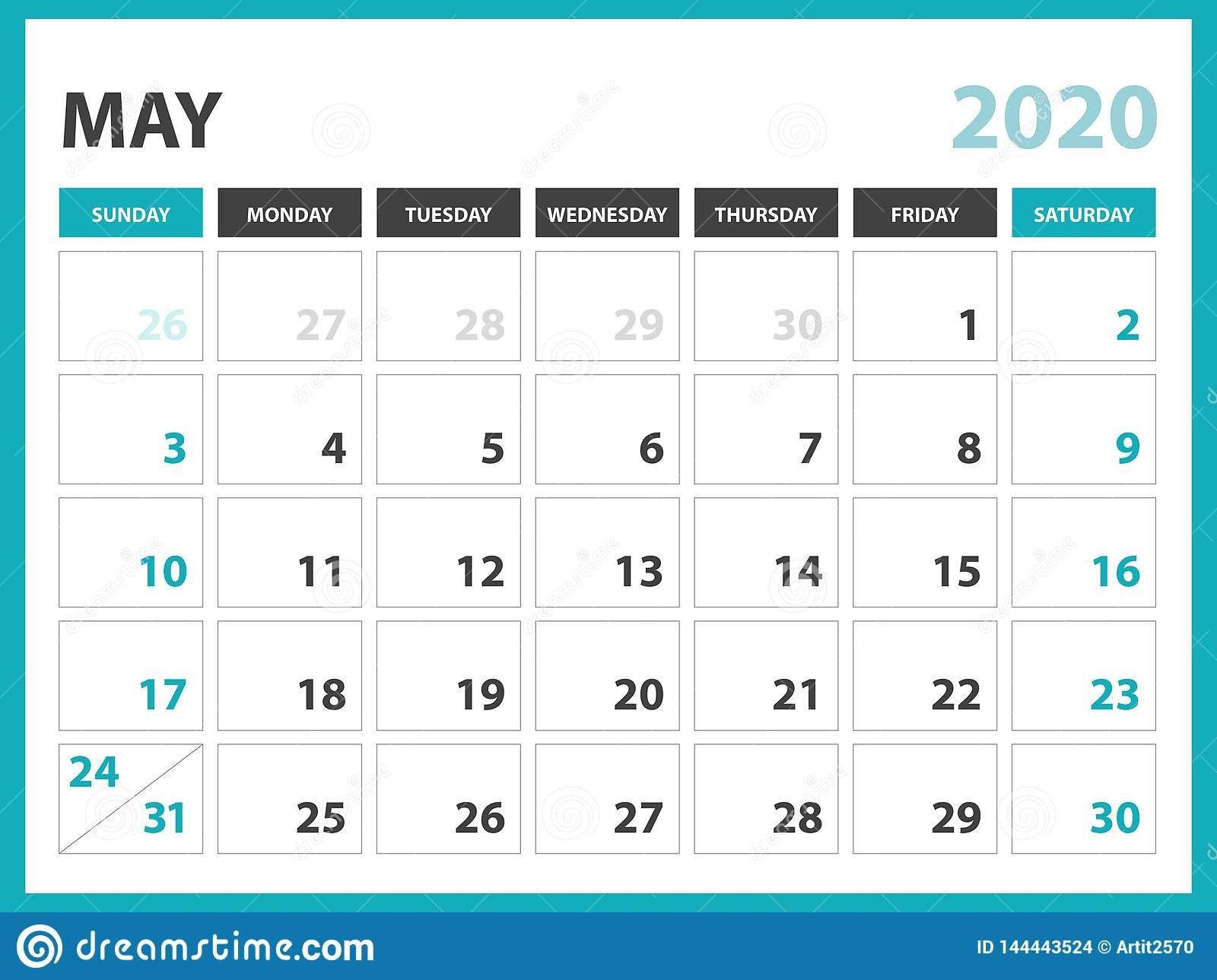 Desk Calendar Layout Size 8 X 6 Inch, May 2020 Calendar 8 By 11 Size Calendar Template