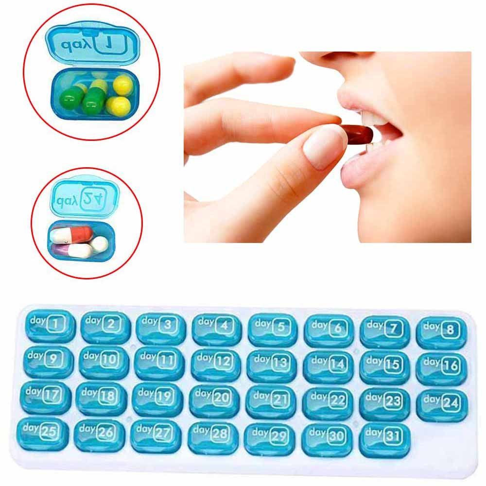 Details About 31 Days Month Weekly Medicine Storage Tablet Pill Sorter Pill  Case Organizer Box Image Box Of 31 Days