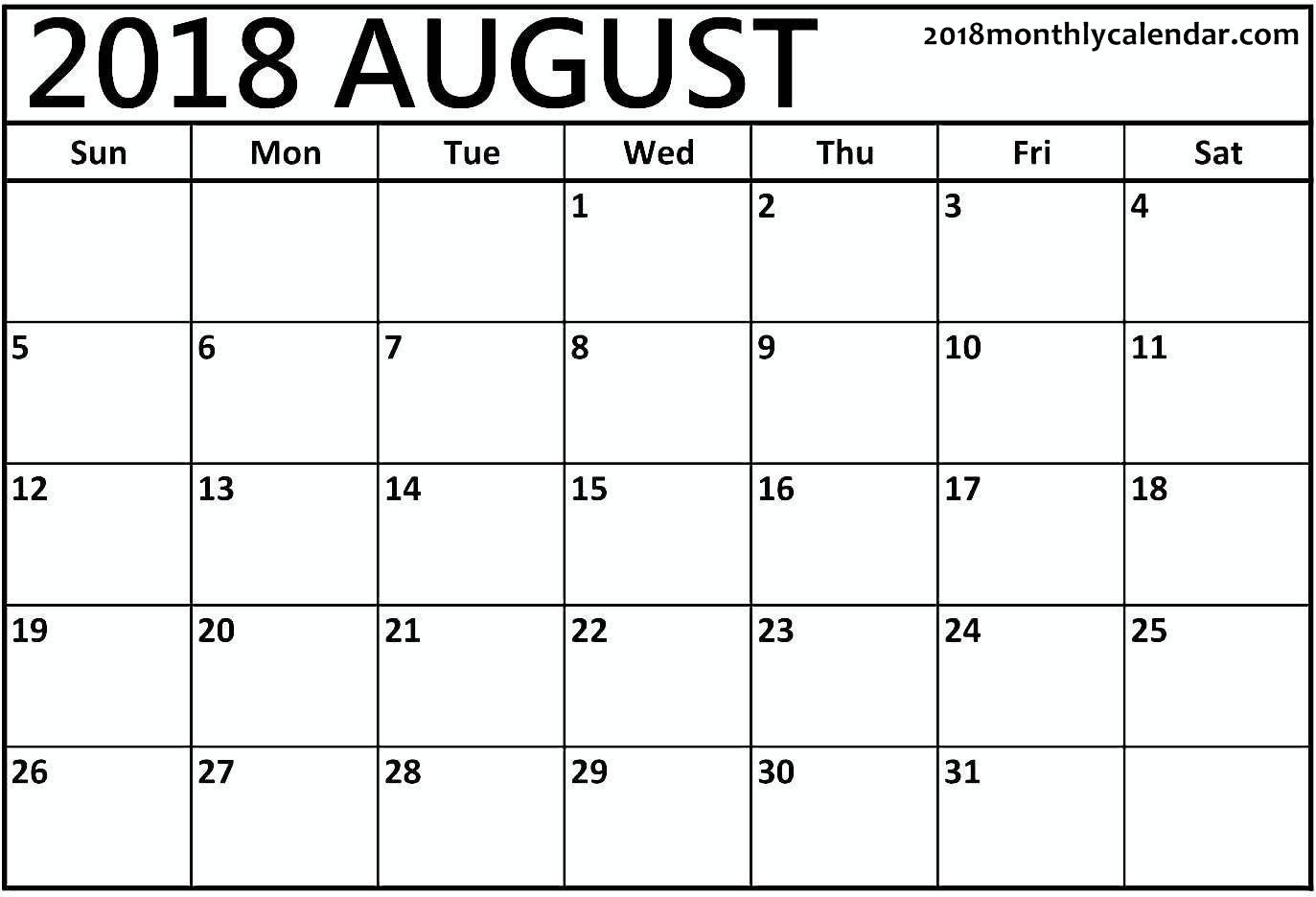Download August 2018 - Printable Blank & Editable Calendar Calendar That I Can Edit