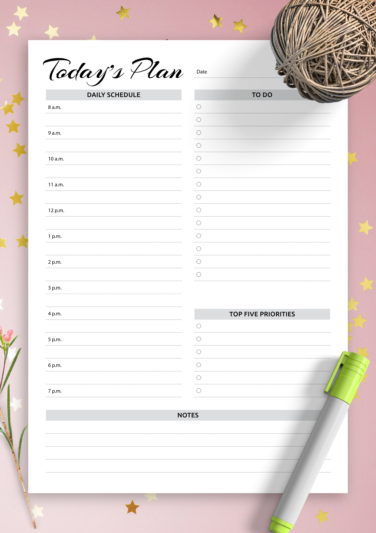Download Printable Daily Planner With Hourly Schedule & To Daily Hourly Schedule Print Out