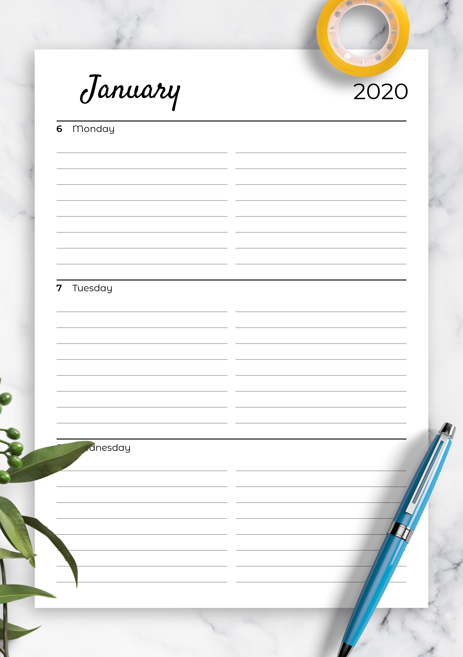 Download Printable Lined Weekly Planner With Calendar Pdf Printable Lined Calendar Template