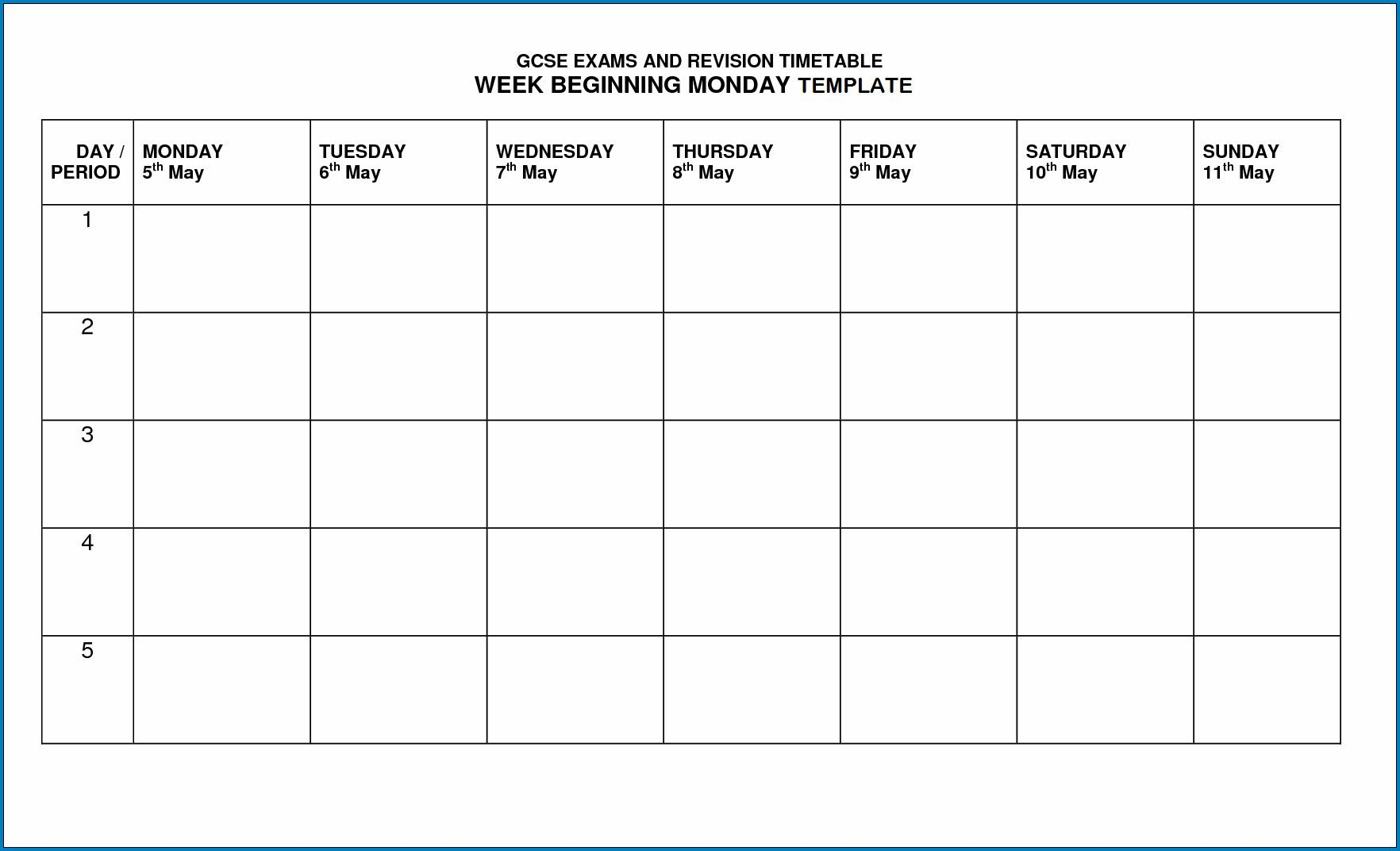 √ Free Printable Timetable Template In 2020 | Timetable Blank Monday To Friday Timetable