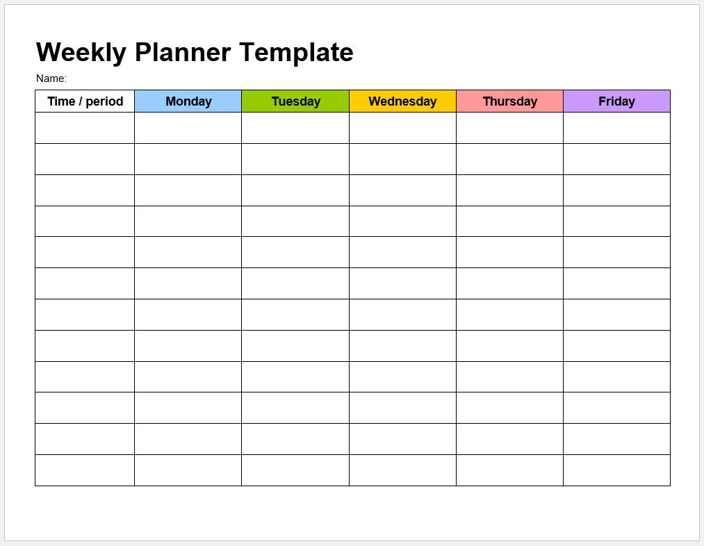 √ Free Printable Weekly Planner Template | Templateral Free Fillable Weekly Schedule Templates