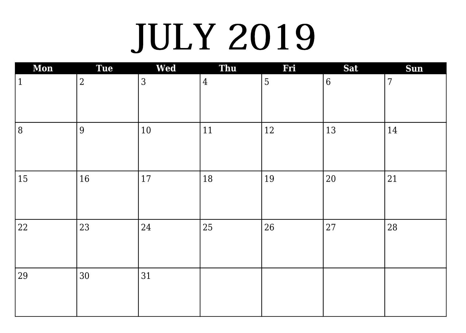 Editable July 2019 Calendar Template (With Images) | 2019 Free Calendar To Edit
