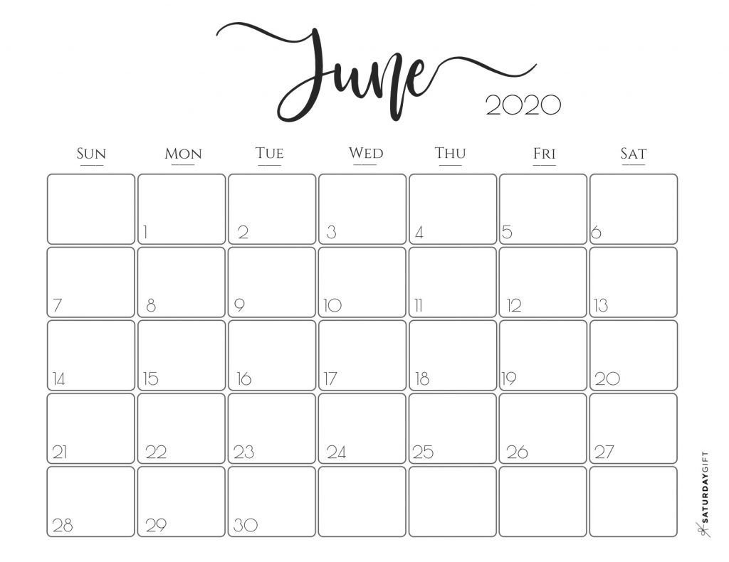 Elegant 2020 Calendar {Free Printables} (With Images) | Free June Monday To Friday Downloadable Calendar