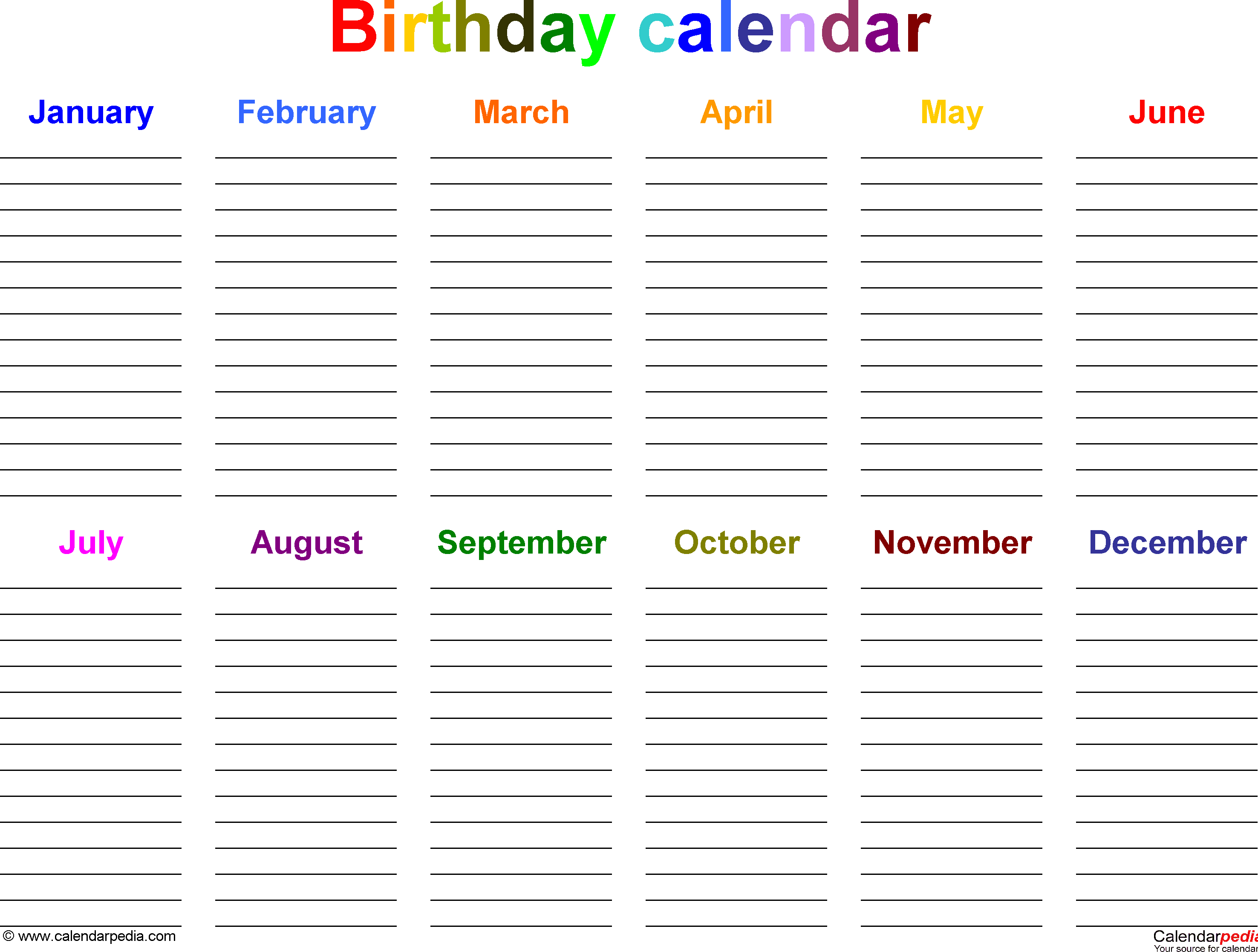 Excel Template For Birthday Calendar In Color (Landscape Free Birthday Calendar For The Workplace