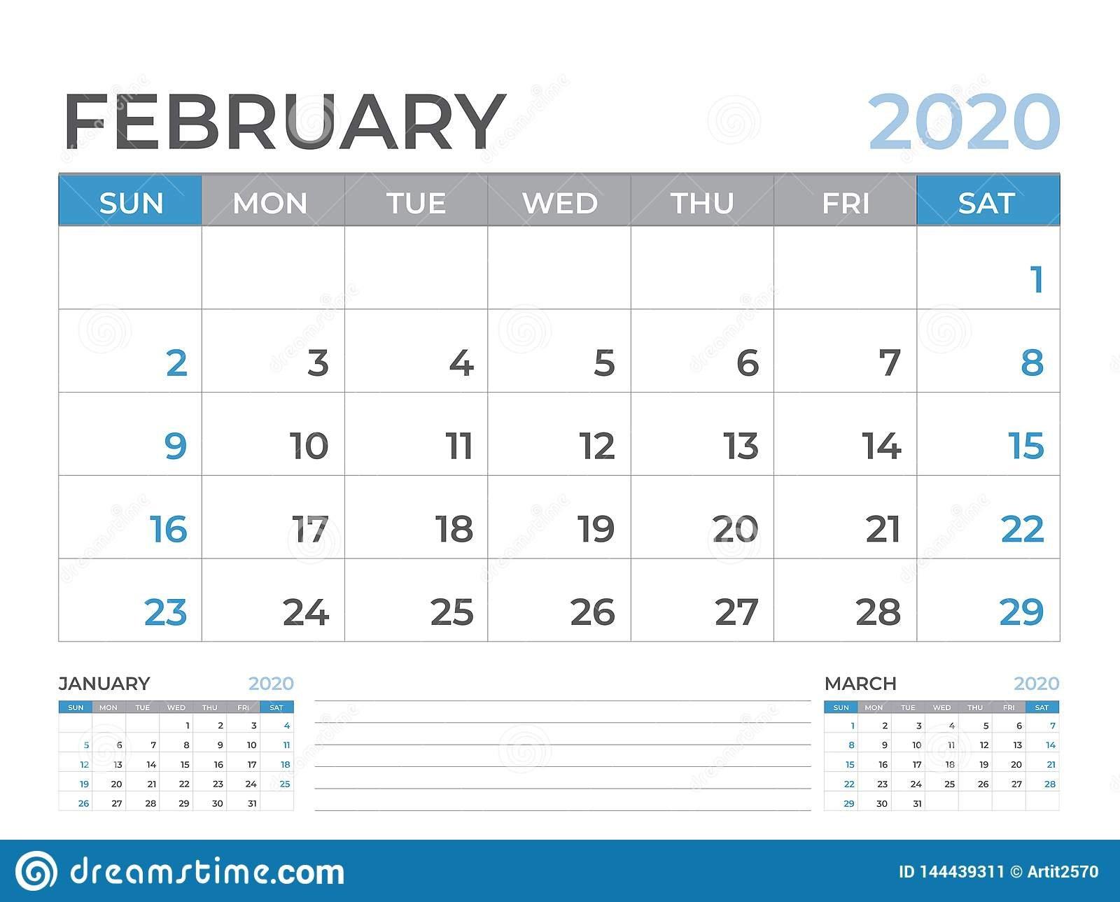 February 2020 Calendar Template, Desk Calendar Layout Size 8 8 By 11 Size Calendar Template