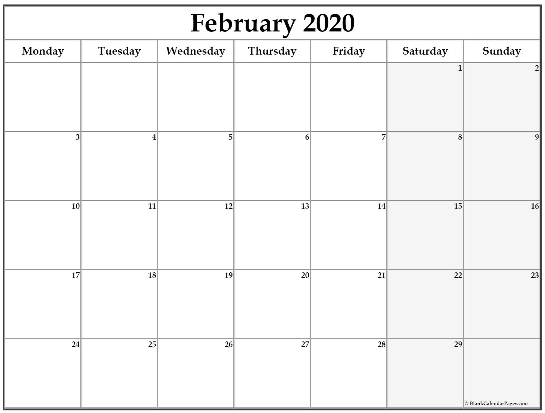 February 2020 Monday Calendar | Monday To Sunday Calendar Saturday To Friday