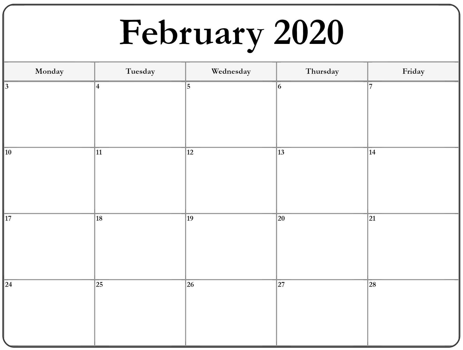 February 2020 Monday Calendar | Monday To Sunday Printable Calender For Mon Through Friday