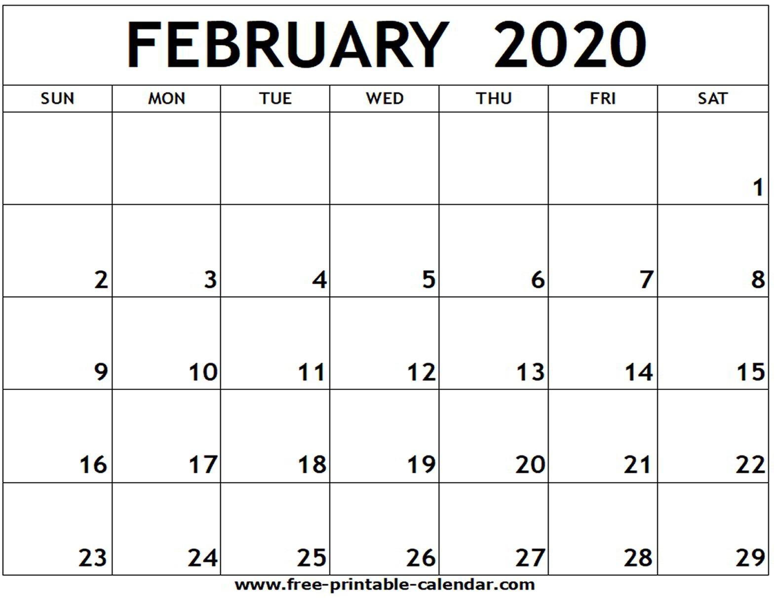 February 2020 Printable Calendar - Free-Printable-Calendar Blank Calendar I Can Edit And Print