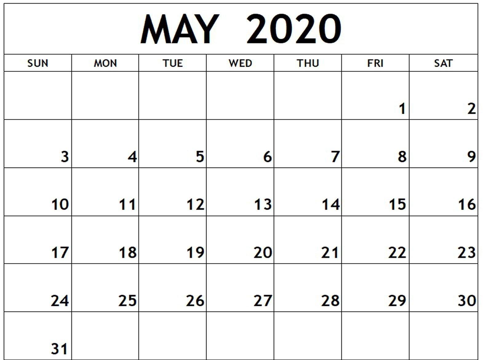 Fillable May 2020 Calendar Editable Printable Notes To Do Fillable Calendar For Excercise