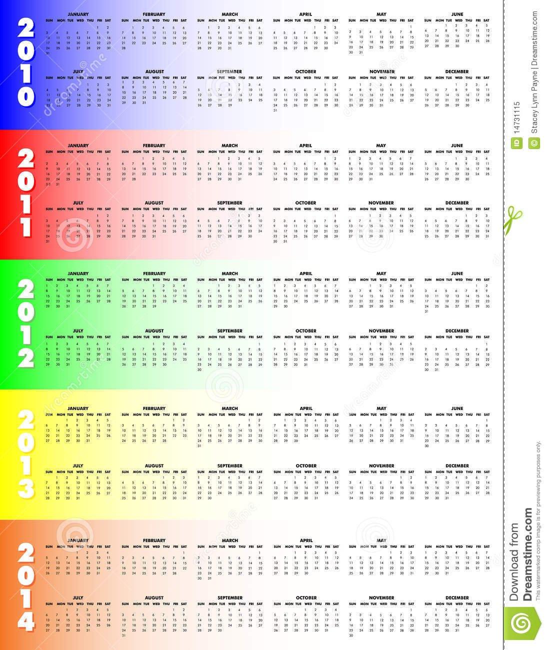 Five-Year Calendar 2010-2014 - Stock Vector - Illustration Five Year Countdown Calendar