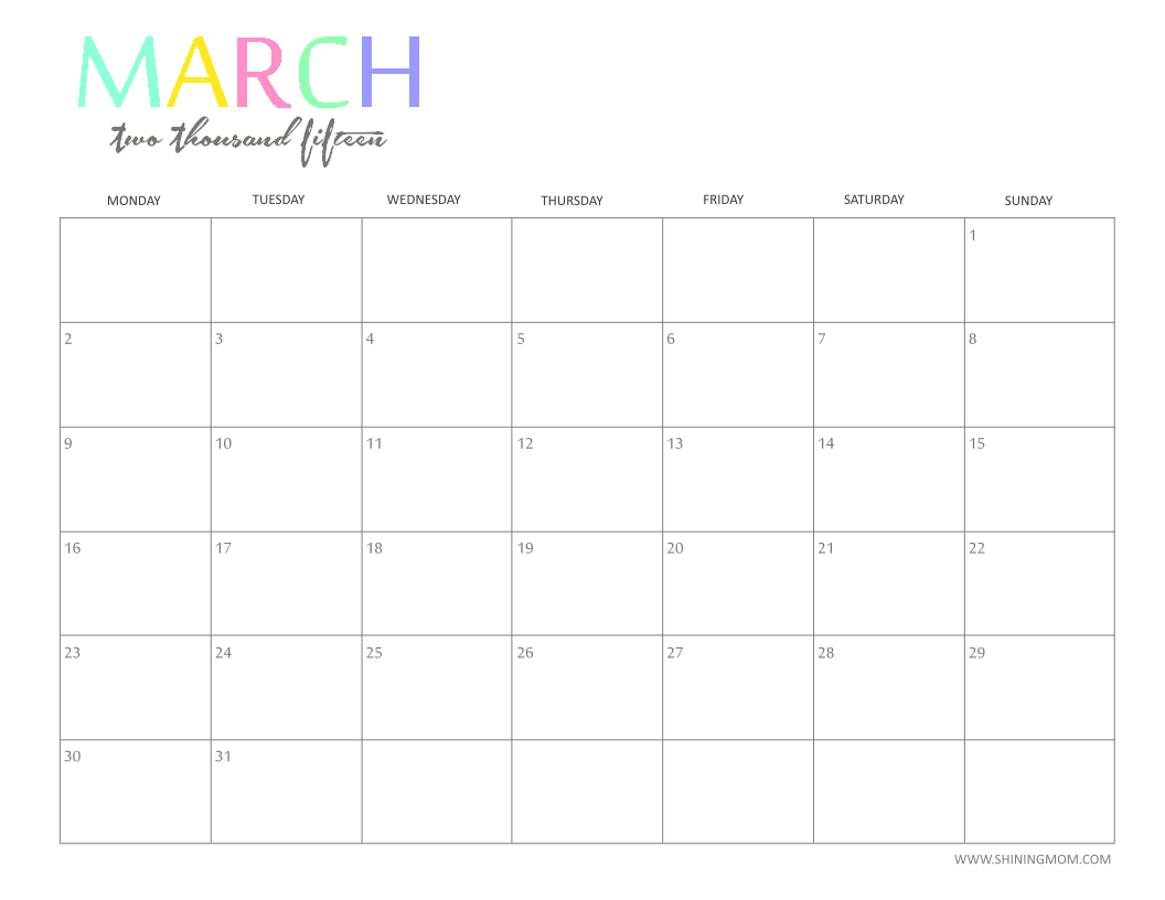 Free 2015 Printable Calendarshiningmom: Fun And Guess The Due Date Calendar Template Free