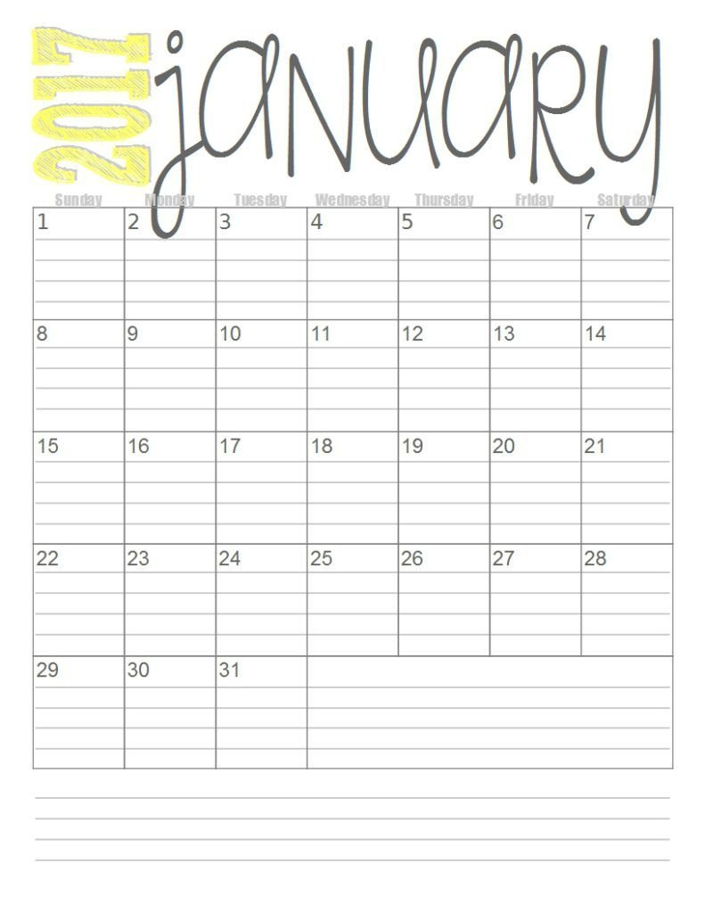 Free 2017 Monthly Calendars (With Images) | Free Printable Printable Lined Calendar Template