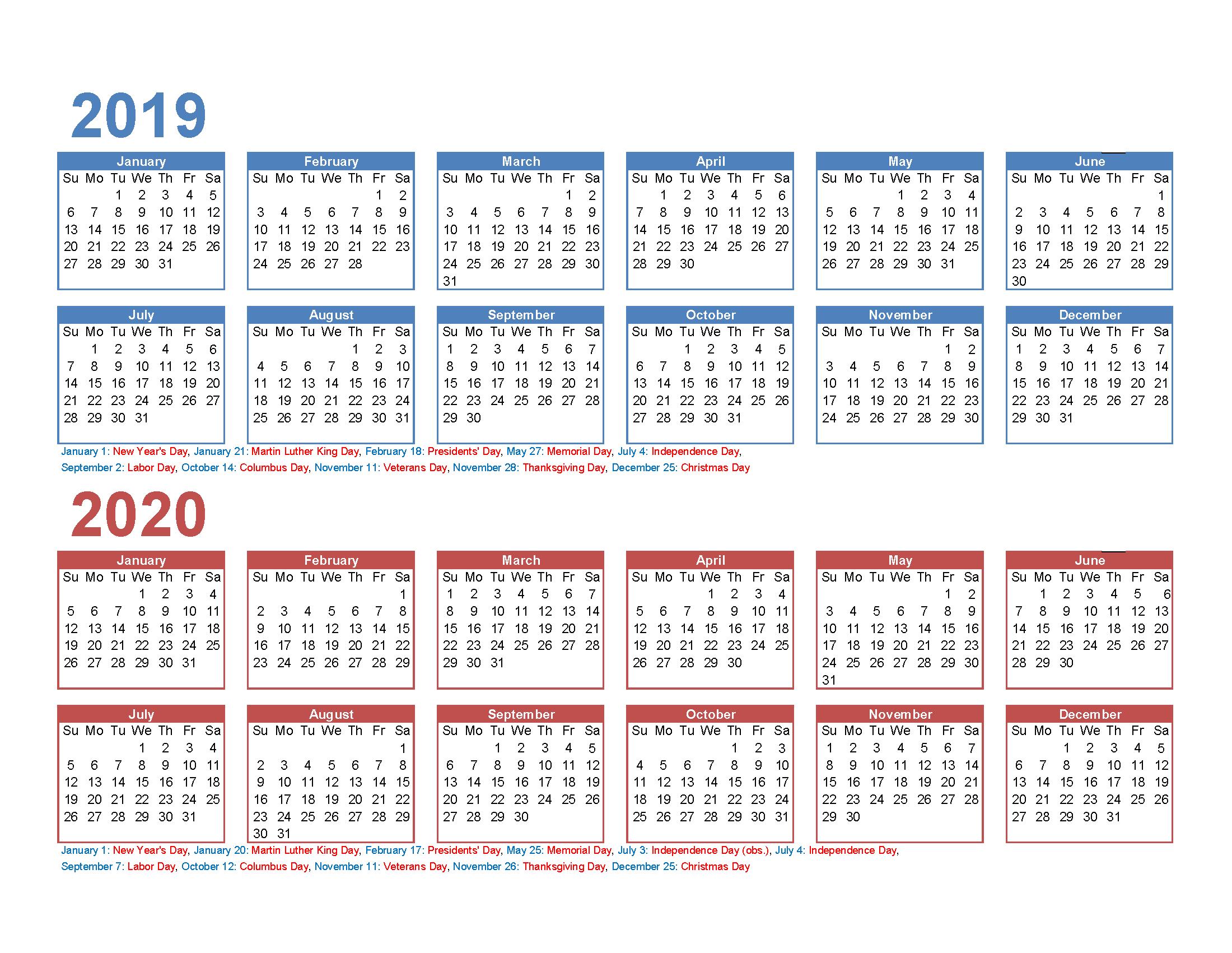 Free 2019 And 2020 Calendar Printable 2 Year Calendar | Free 4 Year Printable Calendar