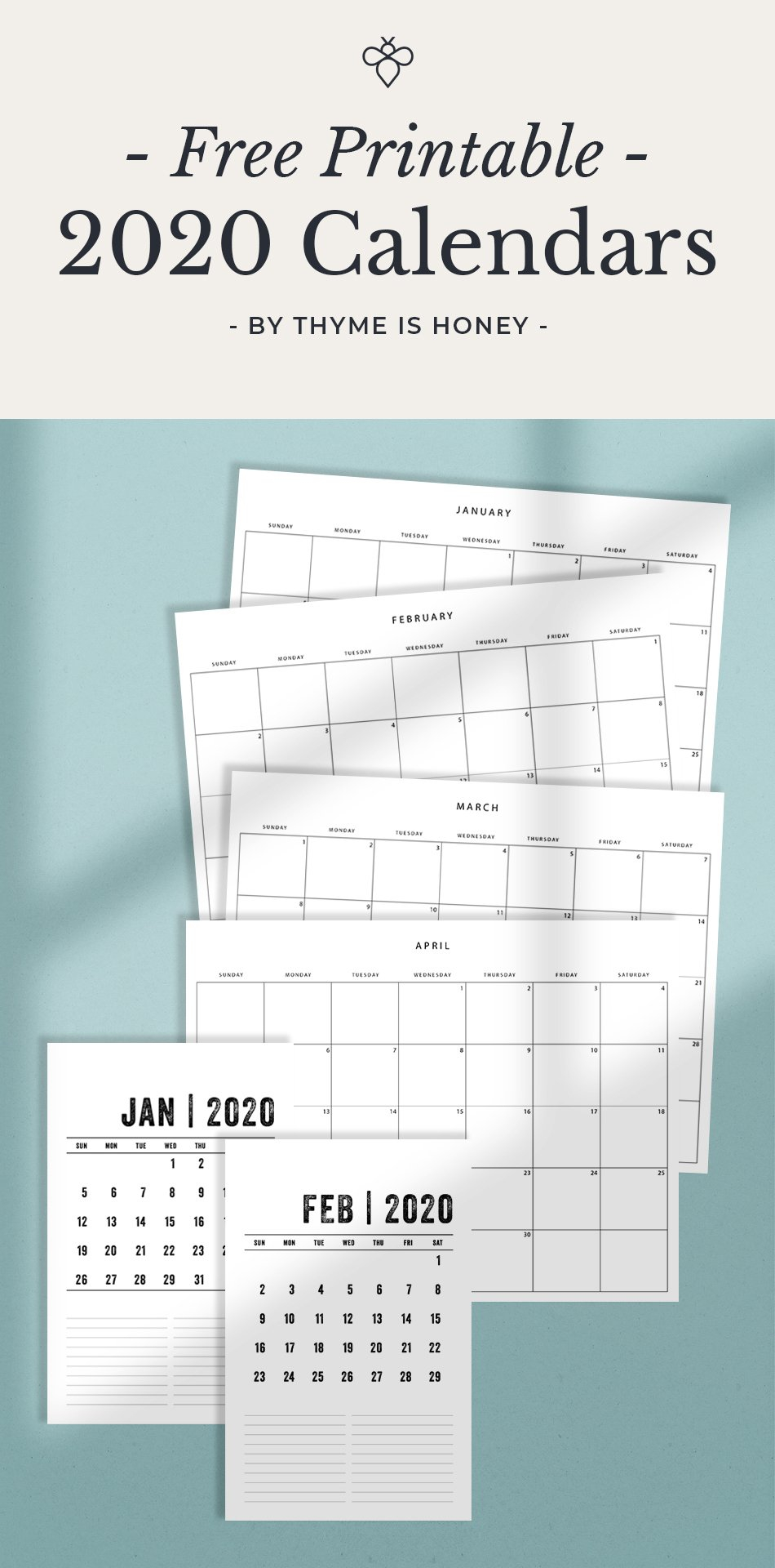 Free 2020 Calendars - Thyme Is Honey Printable 2 Page Per Month 5.5 X 8.5 Calendar 2020