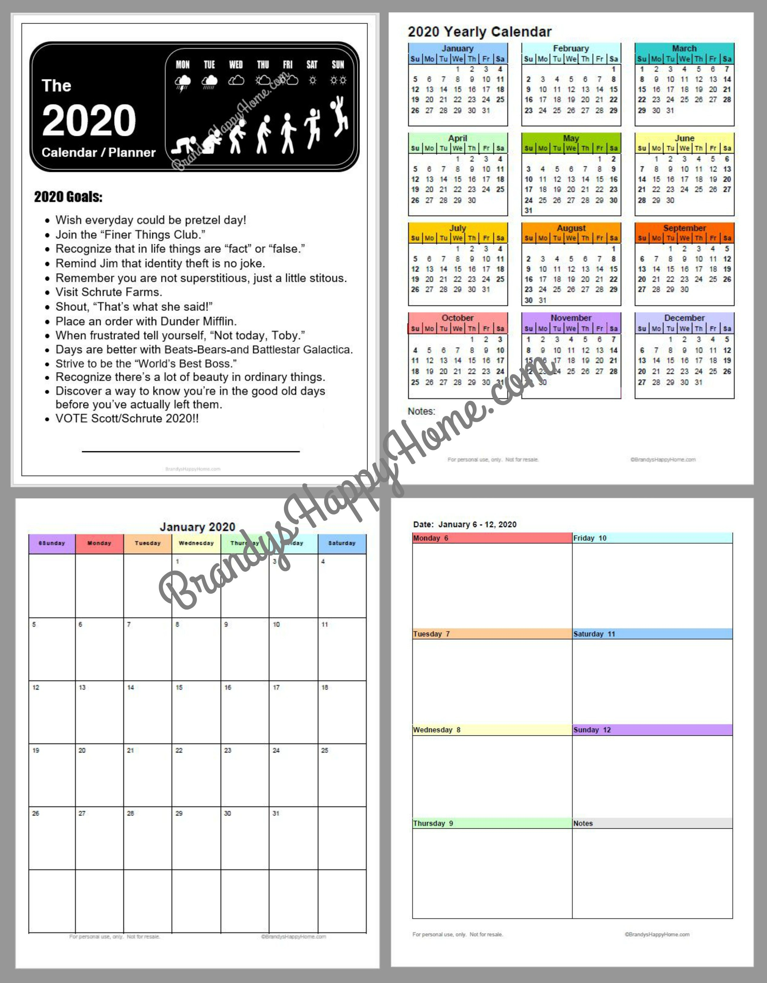 Free 2020 Diy Calendar Planner Printables Free Print Color Coded Calendar