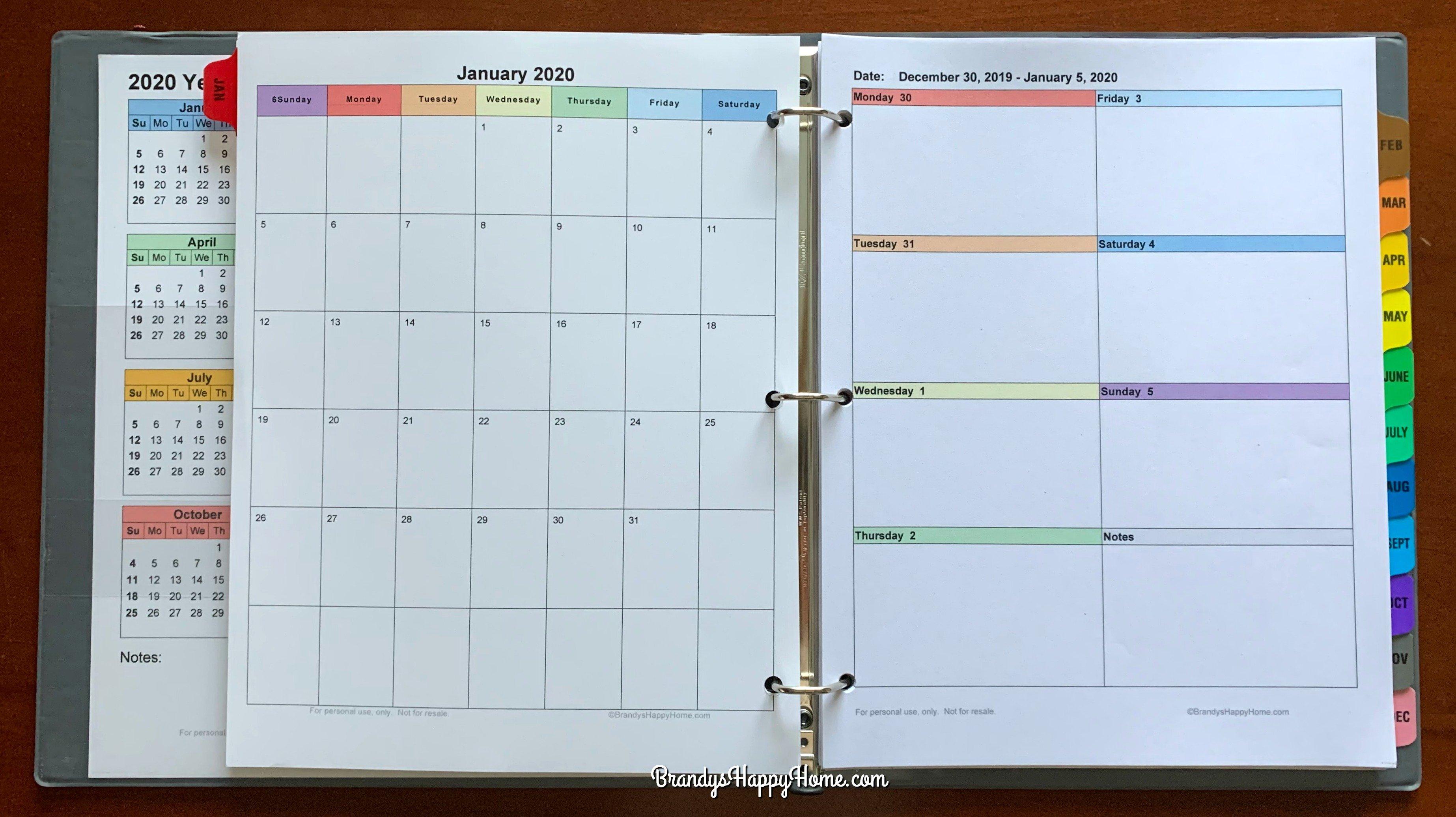 Free 2020 Diy Calendar Planner Printables Free Printable Color Coded Calendar